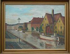 Sconosciuto Monogrammist -fischkutter in Stadtkanal -ölgemälde Datato 1945