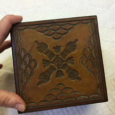 Vintage Wooden Box with Tooled Leather Top By Leather Stuff Dovetail Joints