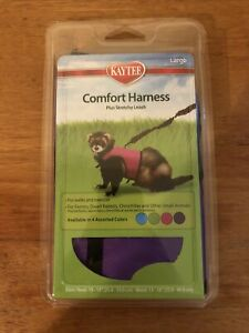 Kaytee Brown Comfort Harness Plus Stretchy Leash Size Large Purple NEW
