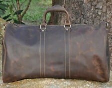 Mens Genuine Leather Cowhide Large Capacity Travel Luggage Duffle Gym Bags Tote