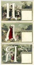 IMPERIAL RUSSIA & 3 ORIGINAL ca 1910s ART NOUVEAU LETTERS OF ALPHABET POSTCARDS
