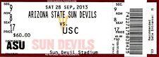 2013 ARIZONA STATE SUN DEVILS VS USC FOOTBALL TICKET STUB 9/28/13 LANE KIFFIN TM