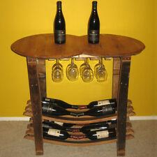 Handmade Wooden Barrel Wine Tasting Table - Bottle & Glass Stemware Rack - Bar