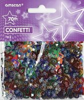 2 PACK 70TH BIRTHDAY CONFETTI / TABLE SPRINKLES MULTI COLOURS TABLE DECORATIONS
