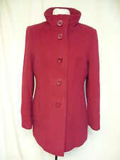 Ladies Coat Planet UK 14, EU 40, red wool blend w/cashmere, smart, lined 7495
