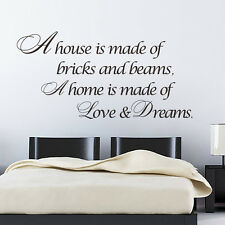 A House Is Made Of Bricks and Beams Wall Art Quote Stickers Home Decals