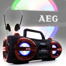 Bluetooth Stereo Boombox USB SD AUX CD MP3 Spieler PLL Radio Tuner + Kopfhörer
