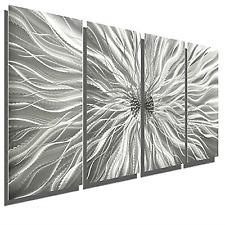 Silver Modern Metal Abstract Wall Art Sculpture Home Decor
