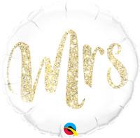 "MRS GLITTER GOLD ROUND FOIL BALLOON 18"" QUALATEX FOIL BALLOON"
