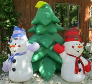 2004 Gemmy Inflatable 8' Christmas Tree & 2 Snowman Yard Decor for Parts Repair
