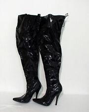 Stiletto Overknee Stiefel Größe 41 Lack schwarz ZB252