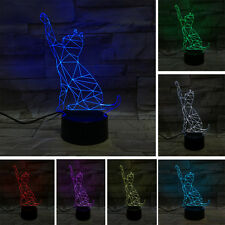3D Cat Visual Illusion Acrylic Desk Night Light 7 Colour Touch