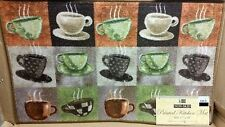 """PRINTED KITCHEN RUG (non skid latex back) (17"""" x 28""""), 15 COFFEE CUPS, gr by BH"""
