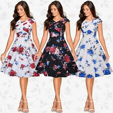 UK WOMENS VINTAGE STYLE 50S RETRO ROSE ROCKABILLY SWING EVENING PARTY DRESS