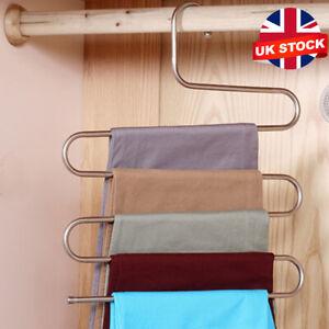 Clothes Pants Trouser Hanger,Multi Layer Storage Rack Closet Space Saver S Shape