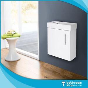 400mm Gloss White Wall Hung Bathroom Vanity Unit - Compact Cloakroom Basin