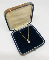 Vintage Necklace Gold Tone Chain Faux Pearl Diamante Pendant Dainty Pretty Gift