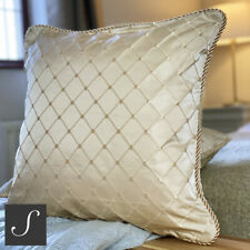 Luxury TWO PACK Antique Gold Jacquard Diamond Cushion Covers Piped Edge 43cm