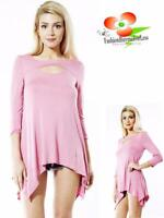 Boho Hippie Gypsy Keyhole Sharkbite Pink Jersey Haute Tunic Shirt Top S M L XL