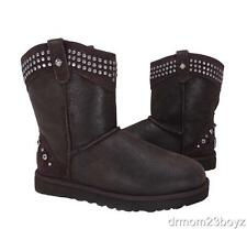 New Ugg Studded Crystal Bowen Womens Brown Sheepskin & Shearling Boots