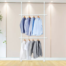 2-Tier wardrobe Adjustable Hanger Clothing Rack Clothes Organizer Garment Rack