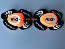 R&G Racing PAIR Knee Sliders in ORANGE / BLACK with  R&G LOGO