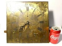 "19thC John Collings Sodbury Brass Long Case Clock Dial 12"" Square + Movement"