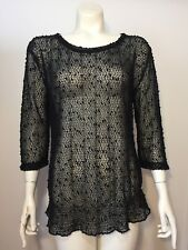 Chicos Easywear Womens Sweater Size 1 Small Sheer Open Knit Sweater 3/4 Sleeves