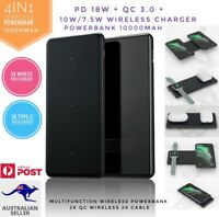 QI Wireless PowerBank 10000mAh  PD 18W QC multifunction external Charger 4IN1