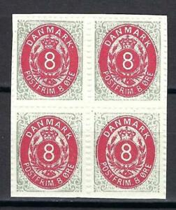 Denmark 1875 8 ore 1st printing plate A from Post museum REPLICA block 4 MNH