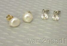 2 pair 14K STUD EARRINGS yellow gold freshwater pearl & 1ct cz white 2.68g