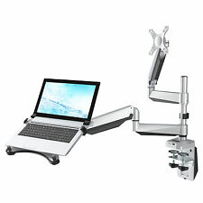 "Dual Arm Desk Laptop Mount Monitor Stand for 10""-27"" LCD & 10.1""-17.3"" Notebook"