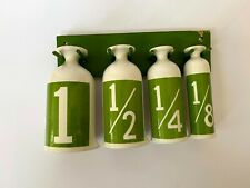 Measuring Cups with Stand Retro Mid Century Kelly Green White Wall Art Set of 4