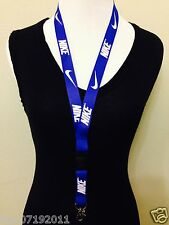 Nike Lanyard Detachable Keychain iPod Camera Strap Badge ID Running Cell Blue