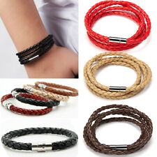 Unisex Women Men Braided Leather Magnetic Clasp Bracelet Handmade Punk Jewelry