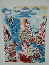 c. 1950 RARE vintage original Raoul Dufy Serigraph print Nude Sailboats art