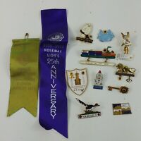 Lions Club Pin Pinback Enameled International Vintage Animal Ribbons Iceland #19