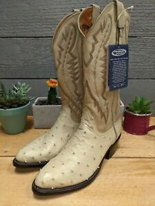 Lucchese 2000 Full Quill Pin Ostrich Winter White 6.5 EE Men's Cowboy Boots