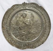 Antique / Vintage Relief Moulded Pewter Plate - Hunting Theme - Deer in Forest