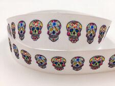 Free 5 Yard 1'' 25MM Skull head Printed Grosgrain Ribbon Hair Bow Sewing Ribbon