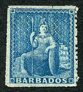 Barbados SG44 (1d) blue Wmk Large Star Rough Perf 14-16 lovely shade Mint No gum