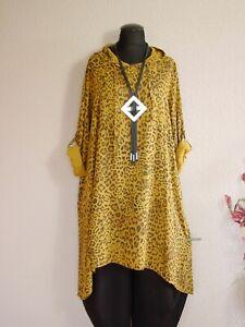 New Collection°Lagenlook Viskose Kleid Vokuhila Kapuze Animal Print Senf os