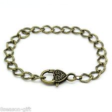 """5 PCs Heart Lobster Clasp Link Chain Bracelets Bronze Tone 20cm(7 7/8"""") long"""