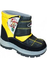 New Boys Weather Proof Black/Yello/Grey Boots Size 1.5