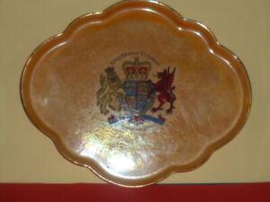 WH GOSS Crested China Orange Lustre Tray. King Edward V1 School Southampton