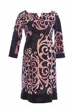OLIAN Maternity Women's Black Scroll Print 3/4 Sleeve Sheath Dress XS $155 NEW