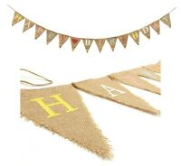 Happy Birthday Fabric Bunting Photo Prop Hessian Fabric Vintage Flag Decoration