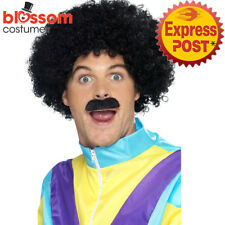 W455 Scouser Black Disco 70s 80s Wig & Moustache Mens Afro Costume Accessories