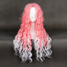 Greek Goddess Long Pink White layered Afro Kinky curly The Queen of England Wig