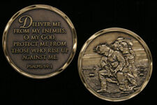 """DELIVER ME... PSALMS 59:1"" CHALLENGE COIN PIN UP US ARMY MARINES NAVY AIR FORCE"